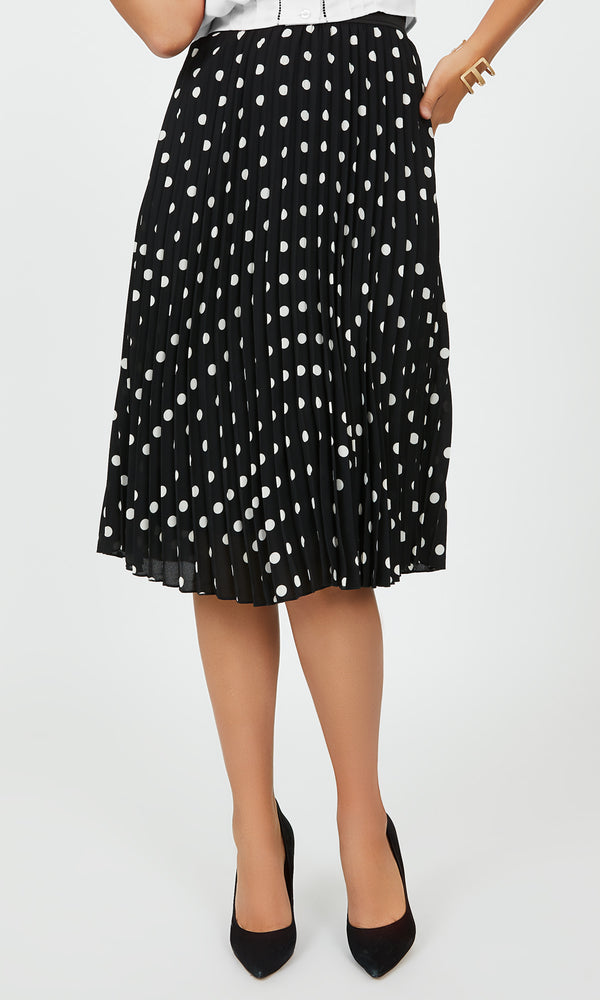 Pleated Polka Dot Skirt