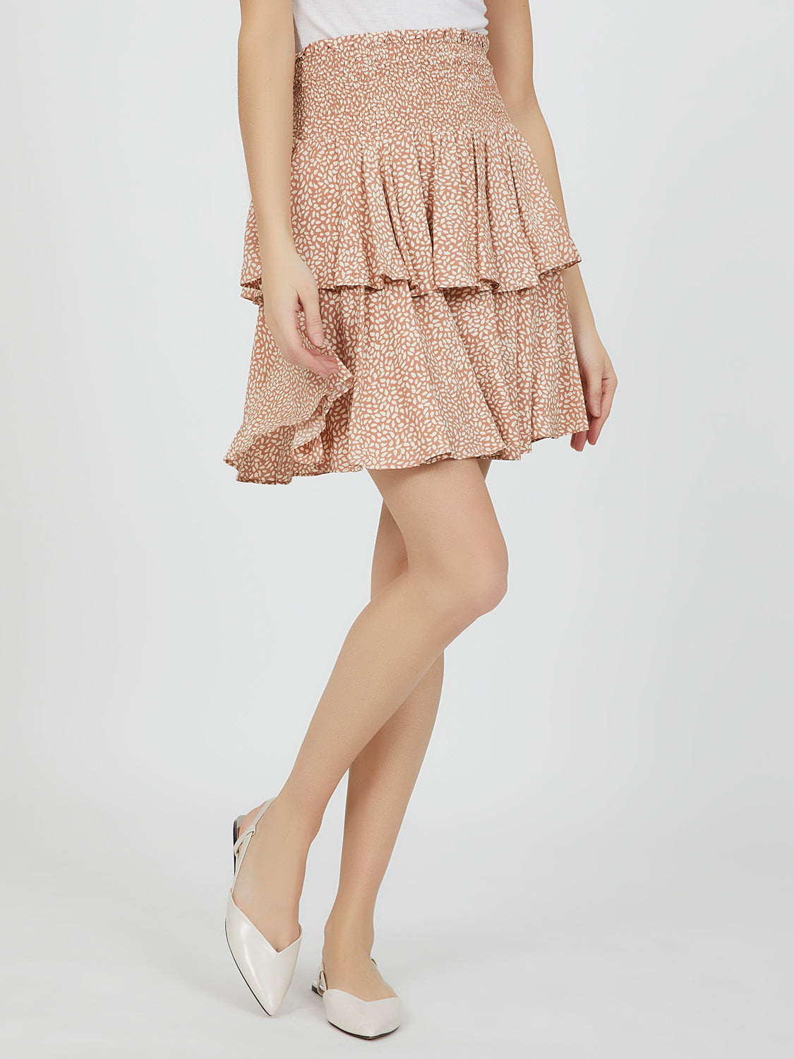 Smocked Waistband Ruffle Skirt