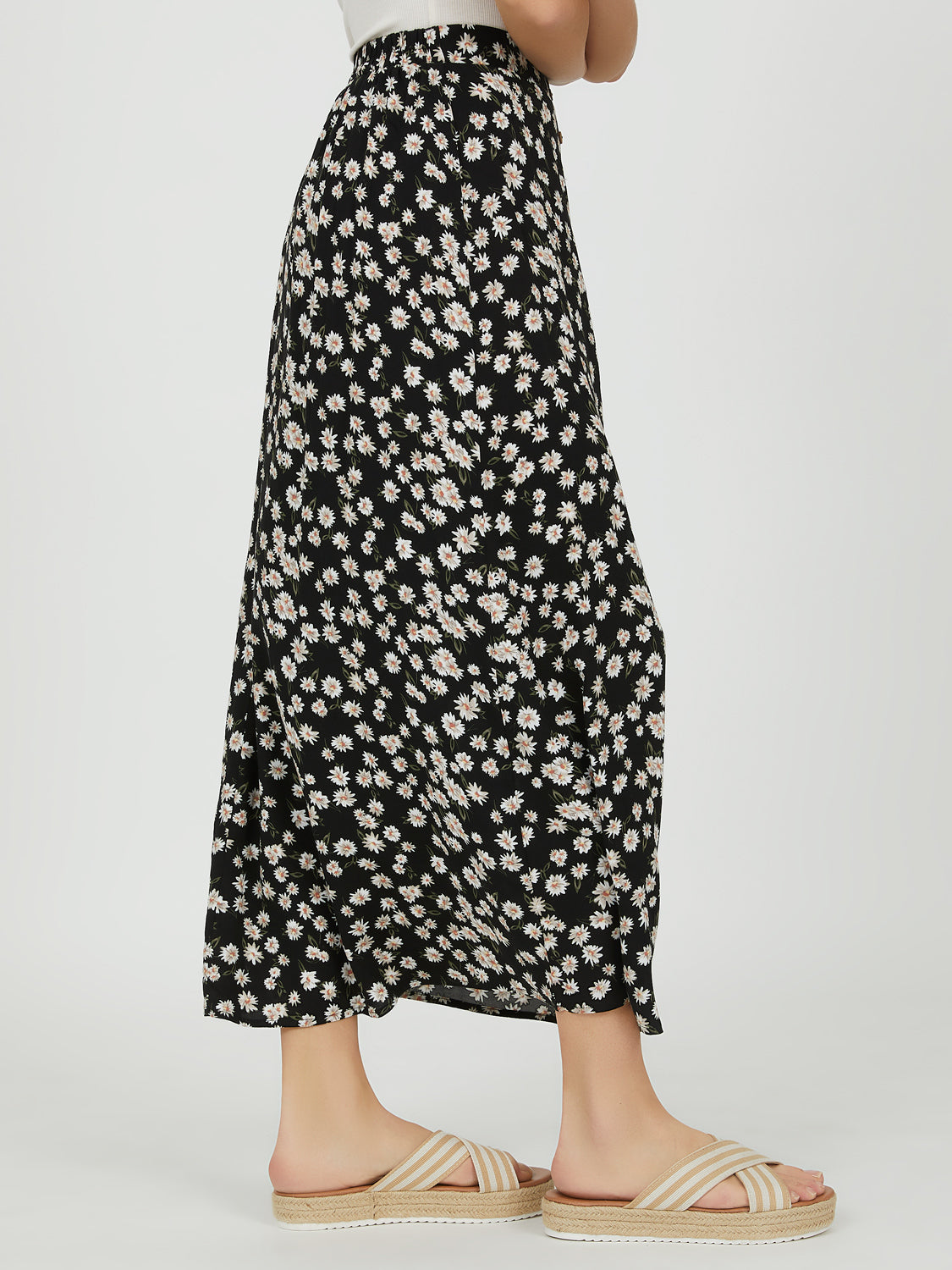 Button-Down Floral Maxi Skirt