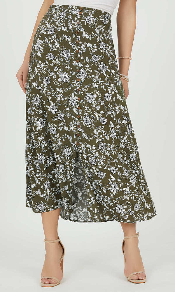 Floral Button-Down Maxi Skirt