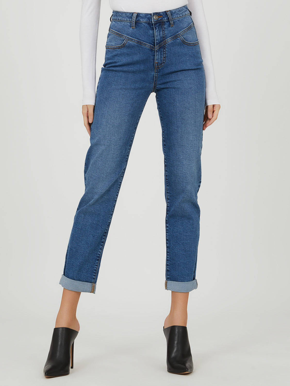 Slim Leg Cuffed Crop Jeans