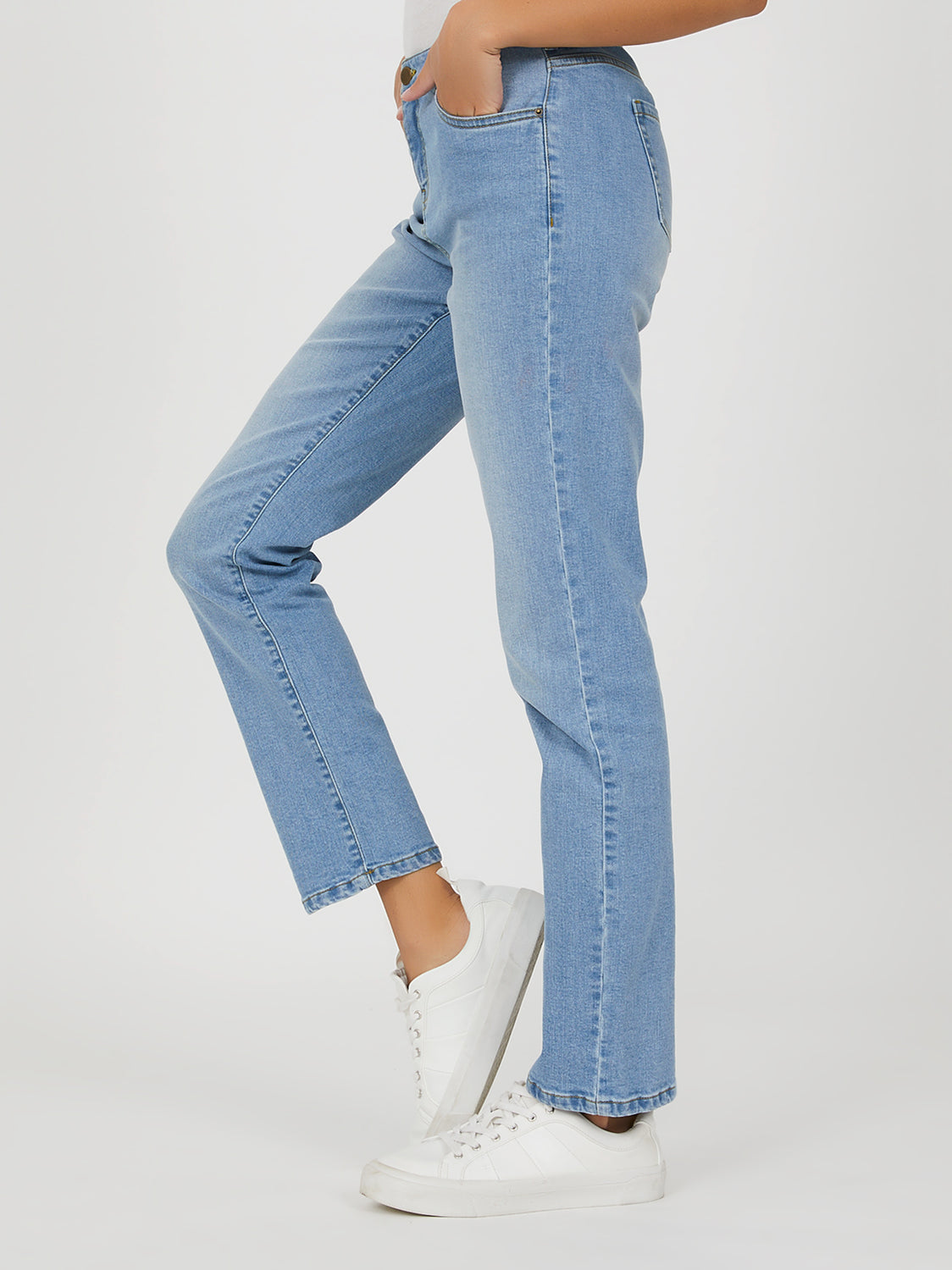 Light Wash Mid-Rise Straight Leg Jeans