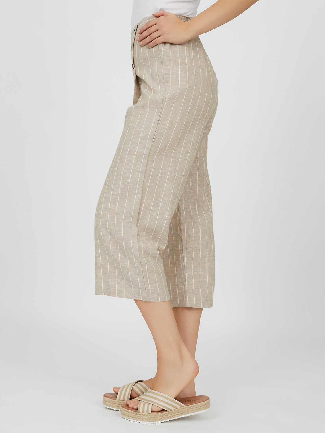 Striped Linen Gaucho Pant
