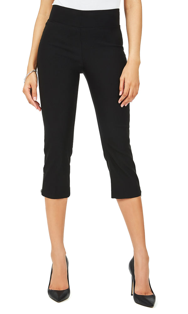 Wide Waistband Zip Capri Pants