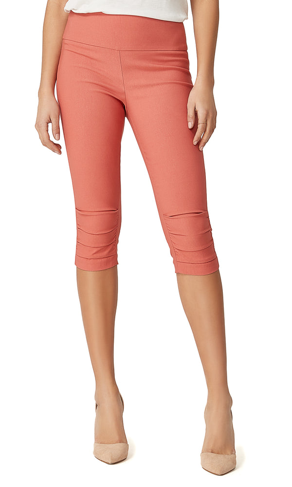 Wide Waistband Ruched Capri Pants