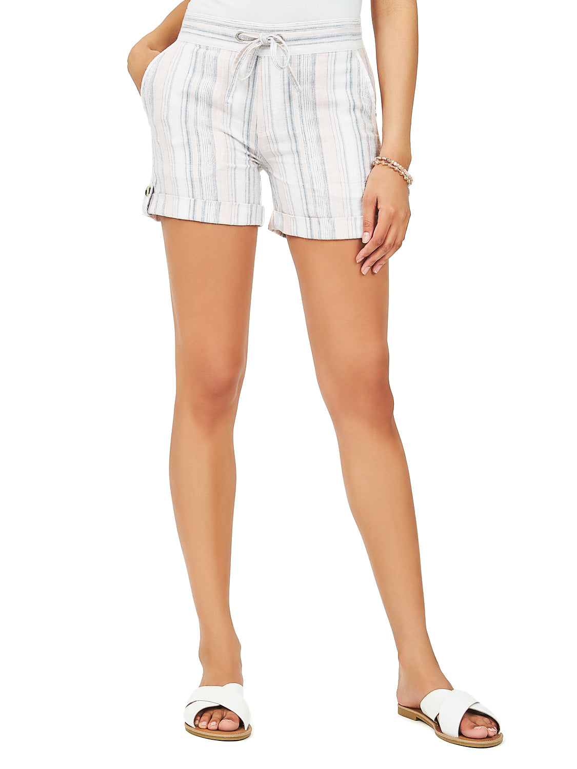 Striped Drawstring Linen Shorts