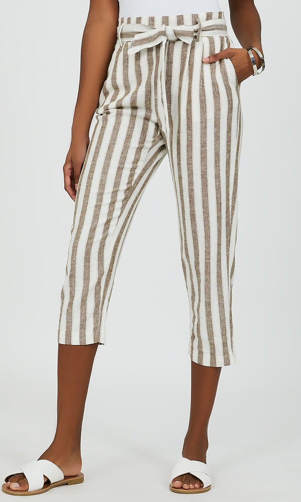 Belted Striped Capri Pant