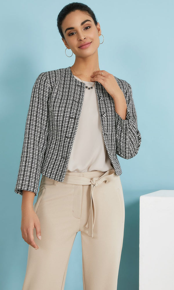 Short Textured-Weave Bouclé Blazer