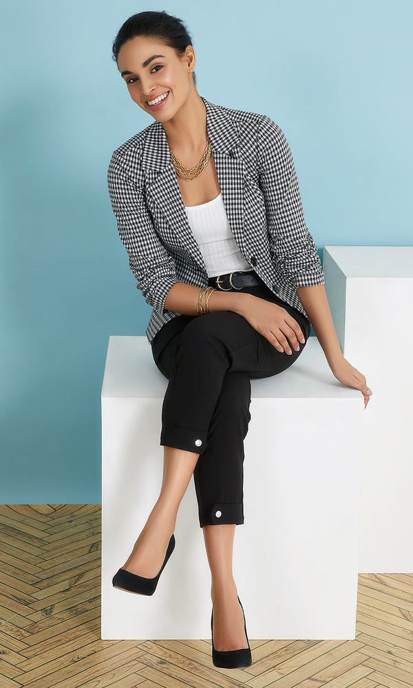 Notch Collar Jacquard Knit Blazer