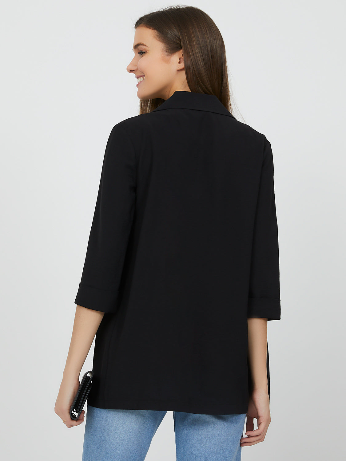 Elongated ¾ Cuffed Sleeve Blazer