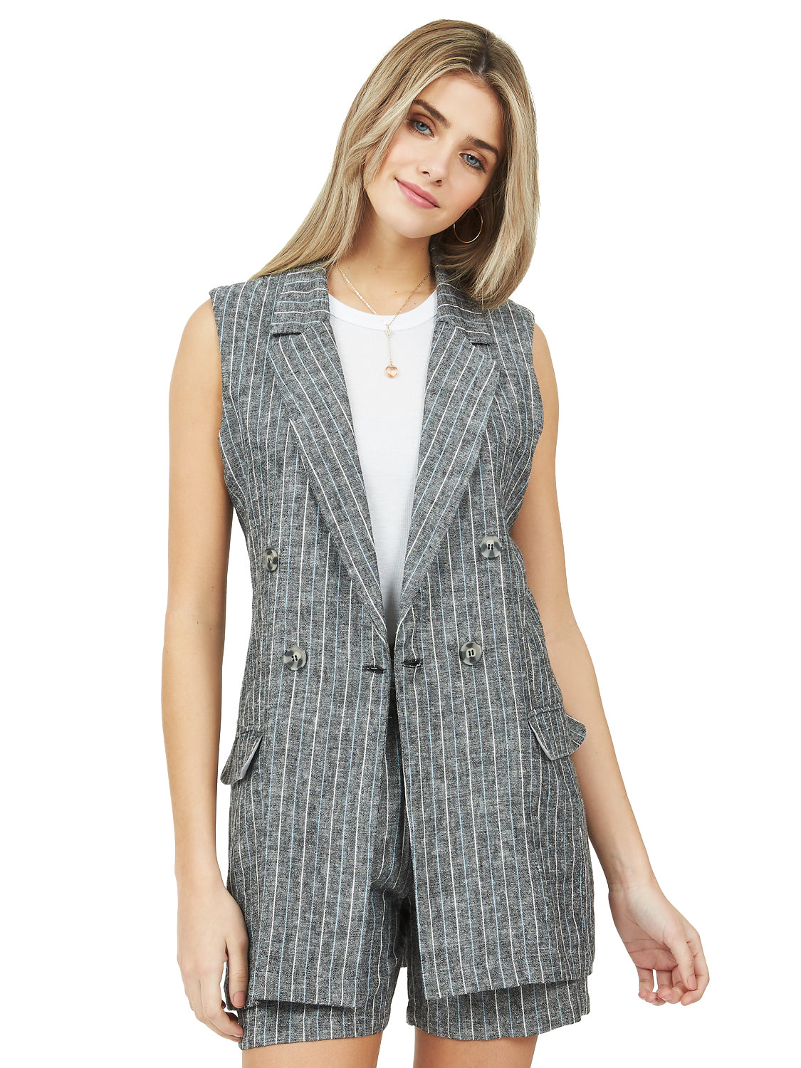 Sleeveless Double-Breasted Linen Vest