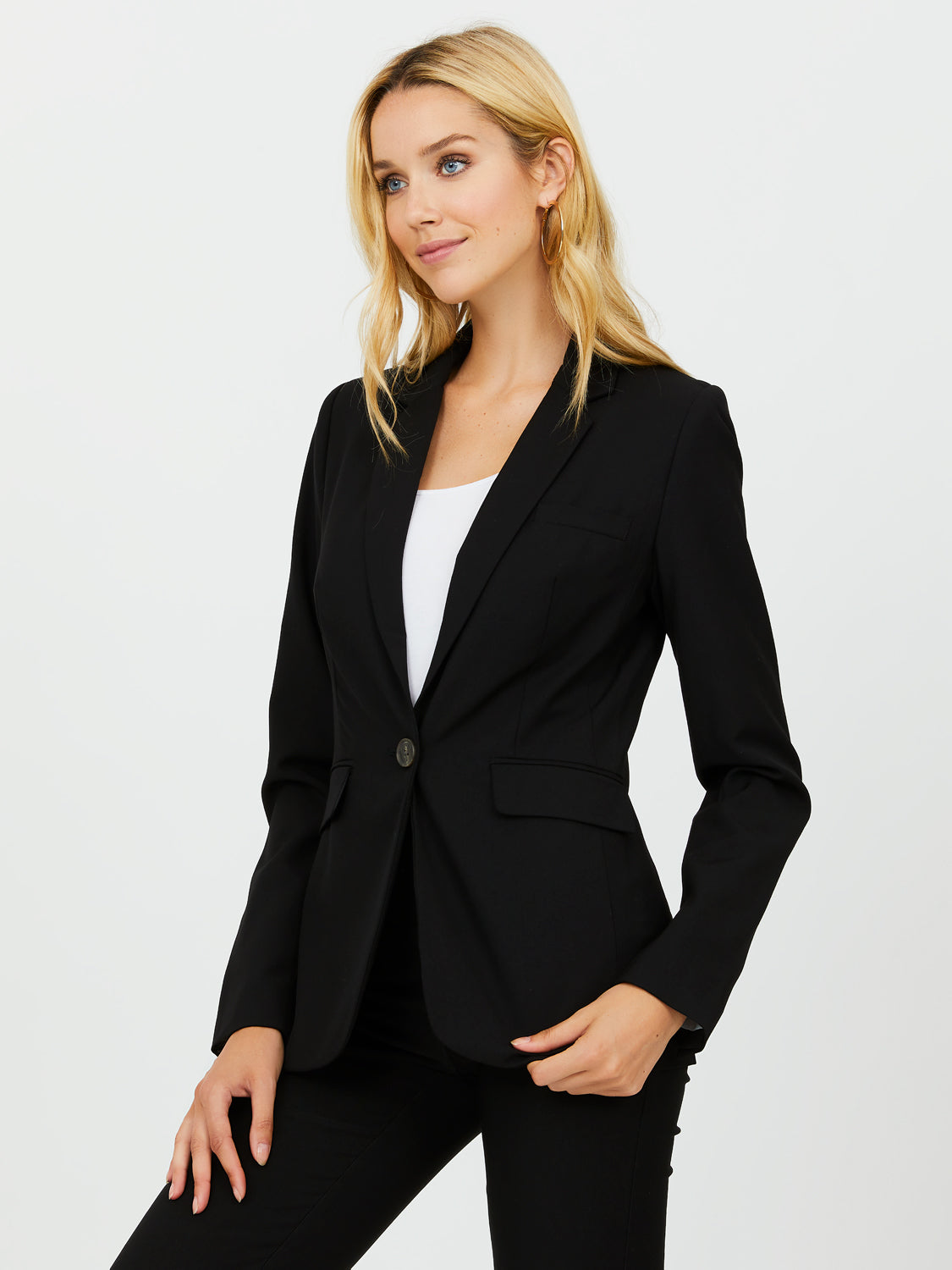 One-Button Fully Lined Blazer