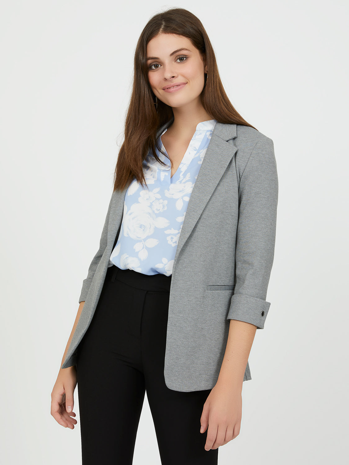3/4 Sleeve Notch Collar Blazer