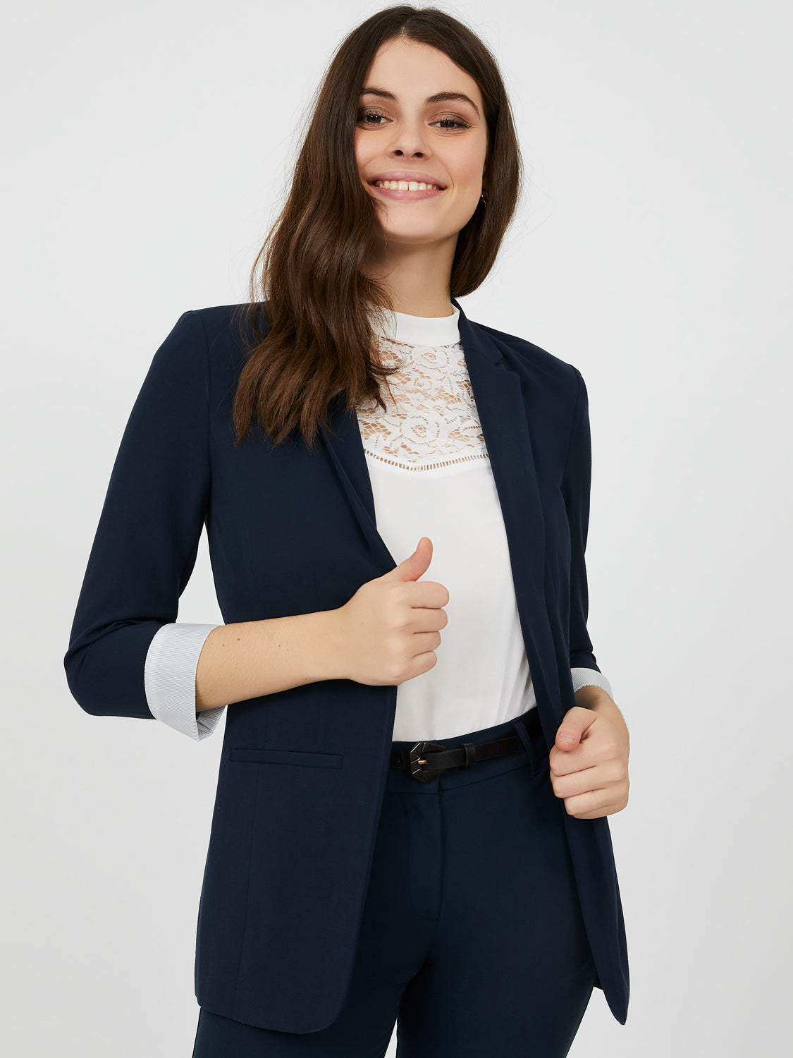 ¾ Sleeve Notch Collar Blazer