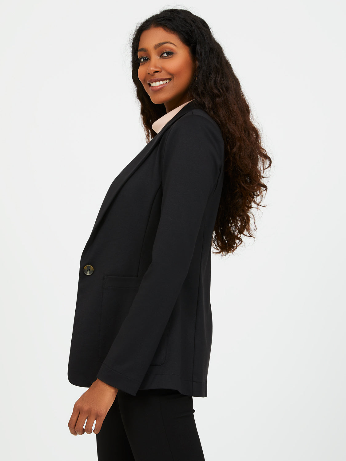 Unlined Notch Collar Blazer