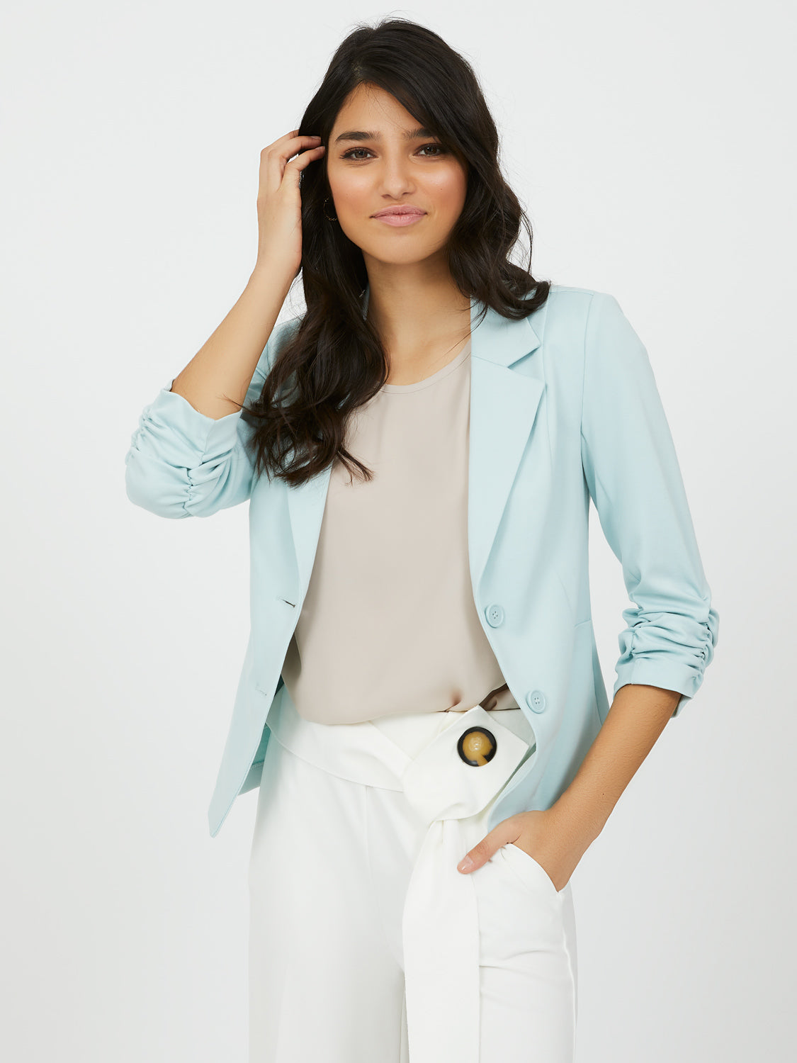 Notch Collar Knit Blazer