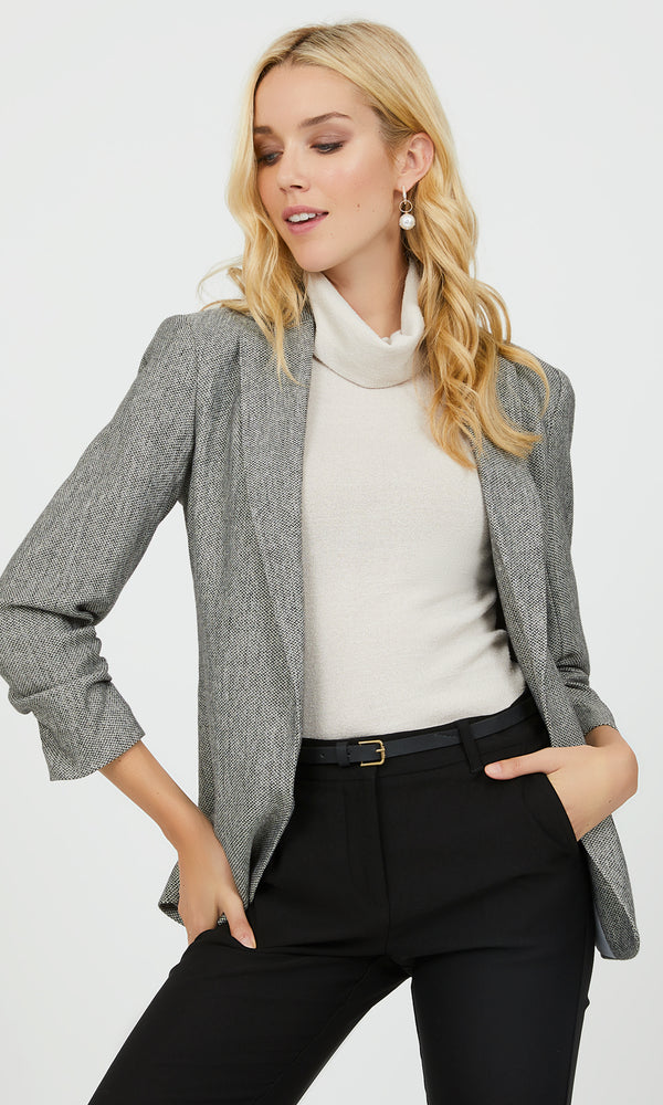 ¾ Ruched Sleeves Notch Collar Blazer