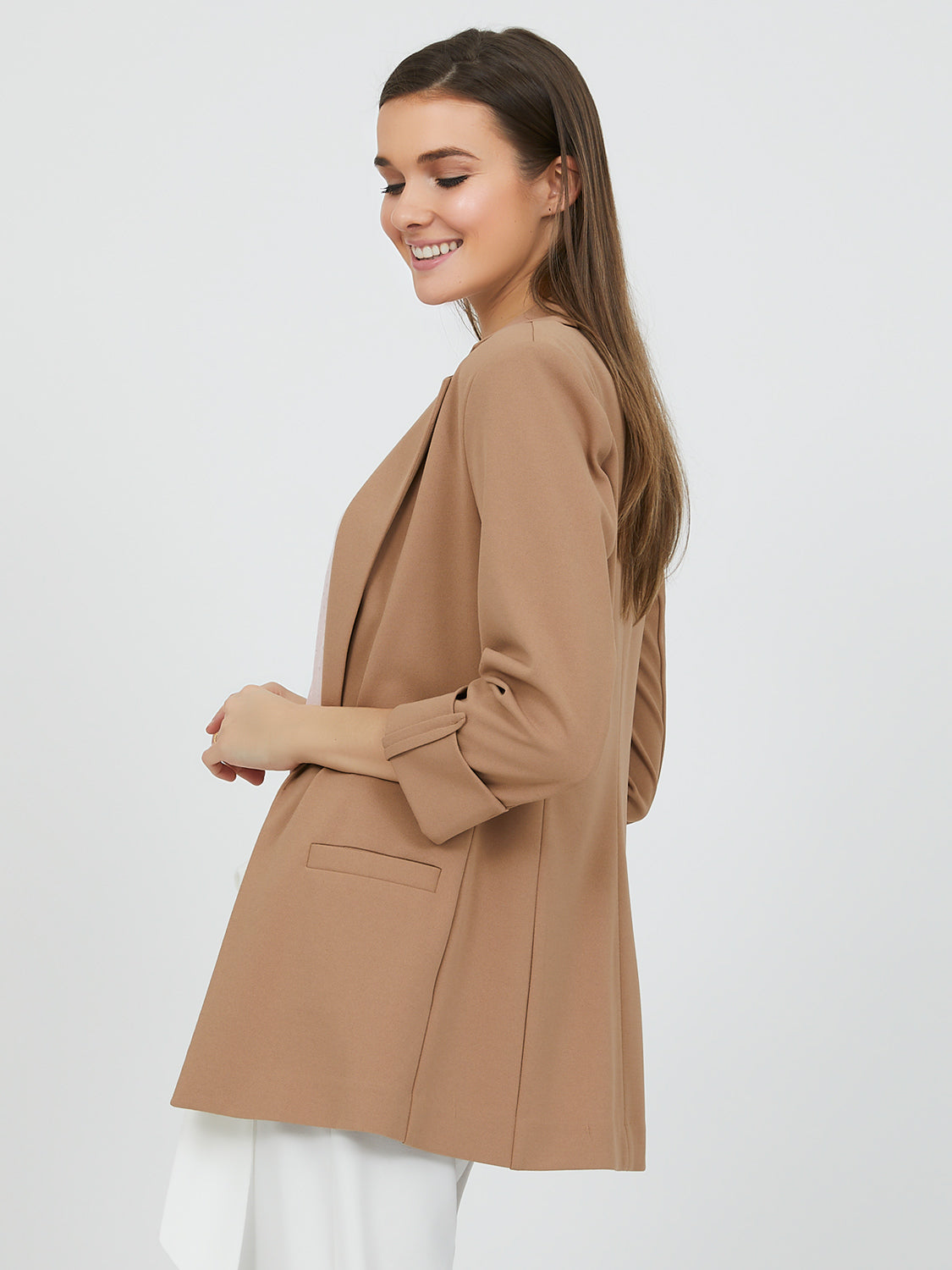 ¾ Sleeve Relaxed Fit Open Front Blazer