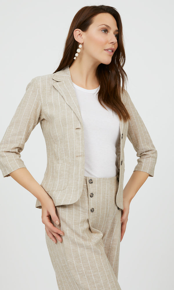 Notch Collar Linen Striped Blazer