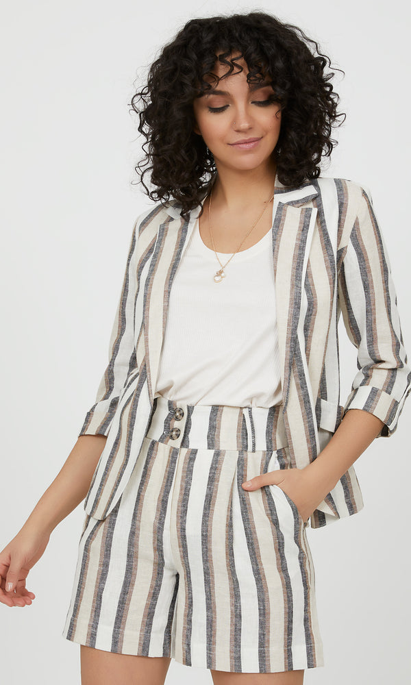 ¾ Sleeve Linen Blend Striped Blazer