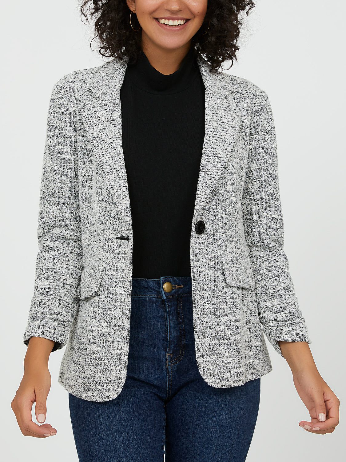 ¾ Sleeves Notch Collar Blazer