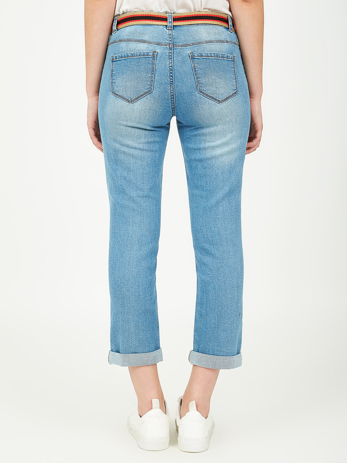 Belted Denim Capri Pants