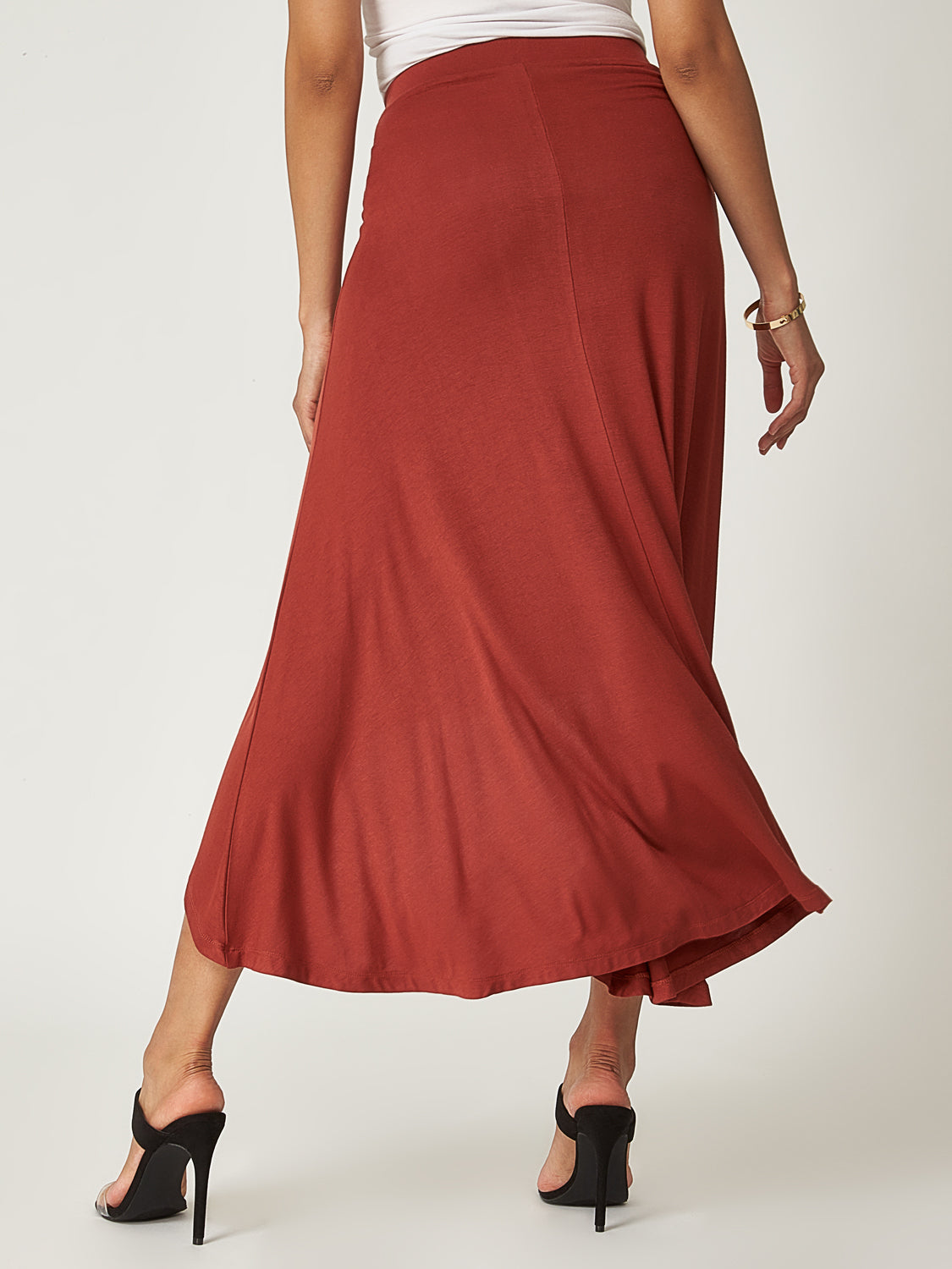 Solid High-Low Maxi Skirt