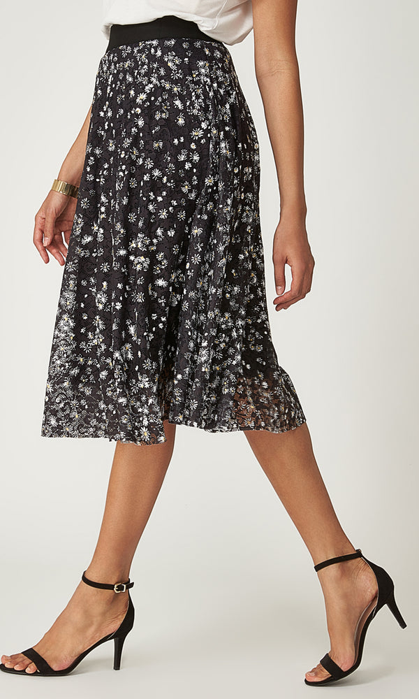 Printed Lace Midi Skirt