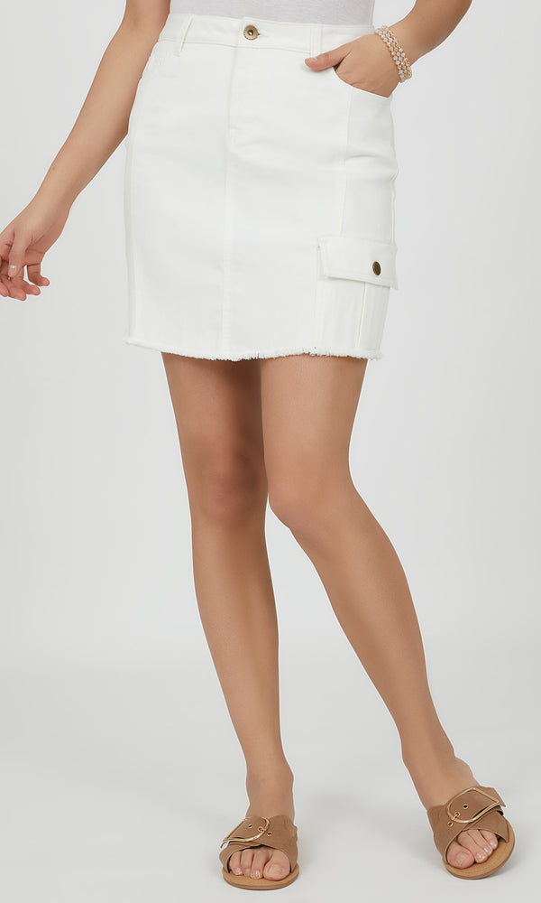 Frayed Mini Cargo Skirt