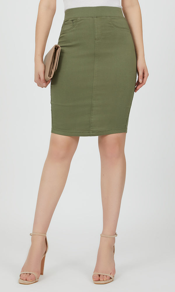 Cotton Blend Pencil Skirt
