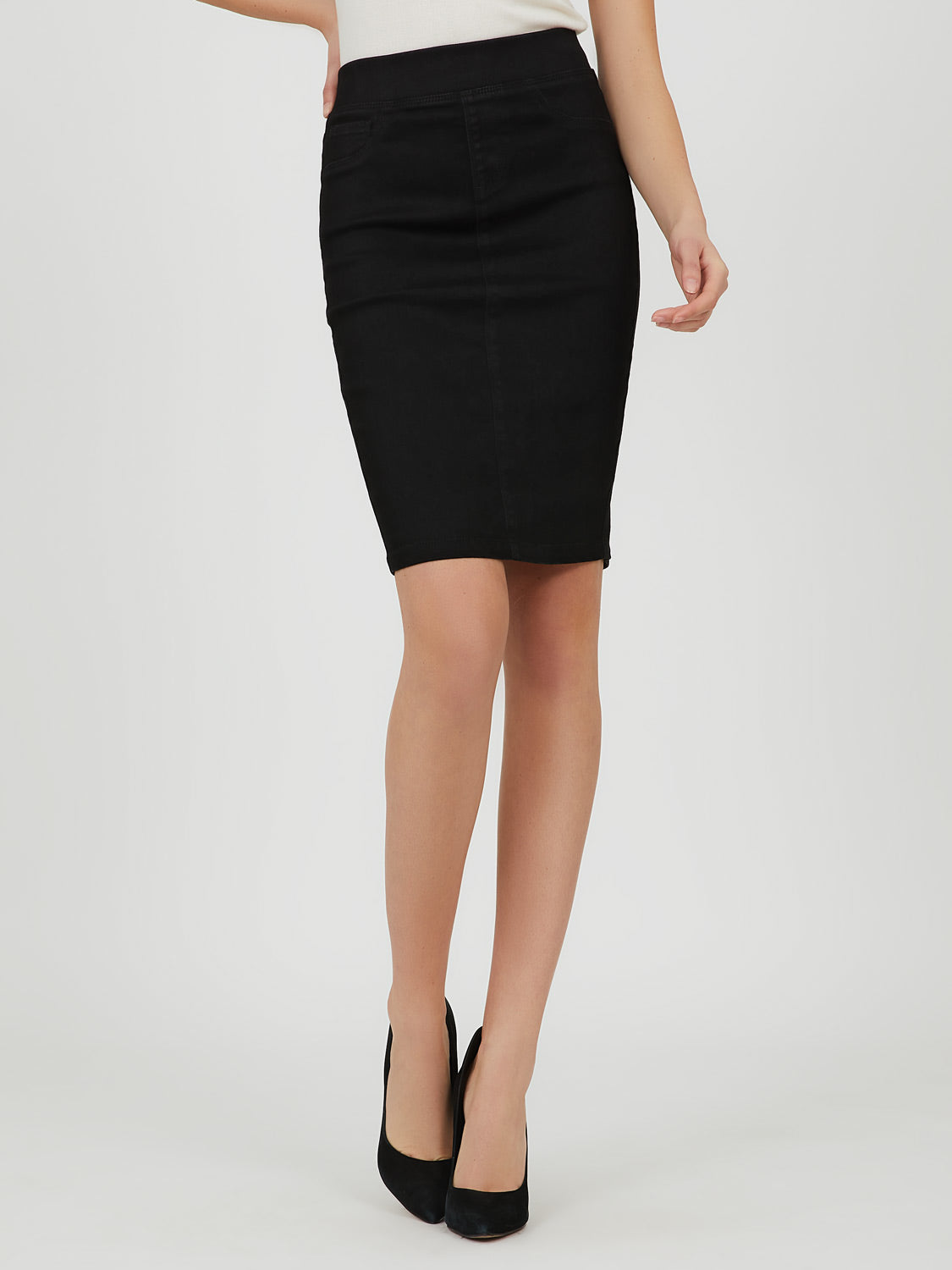 Twill Knit Pencil Mini Skirt