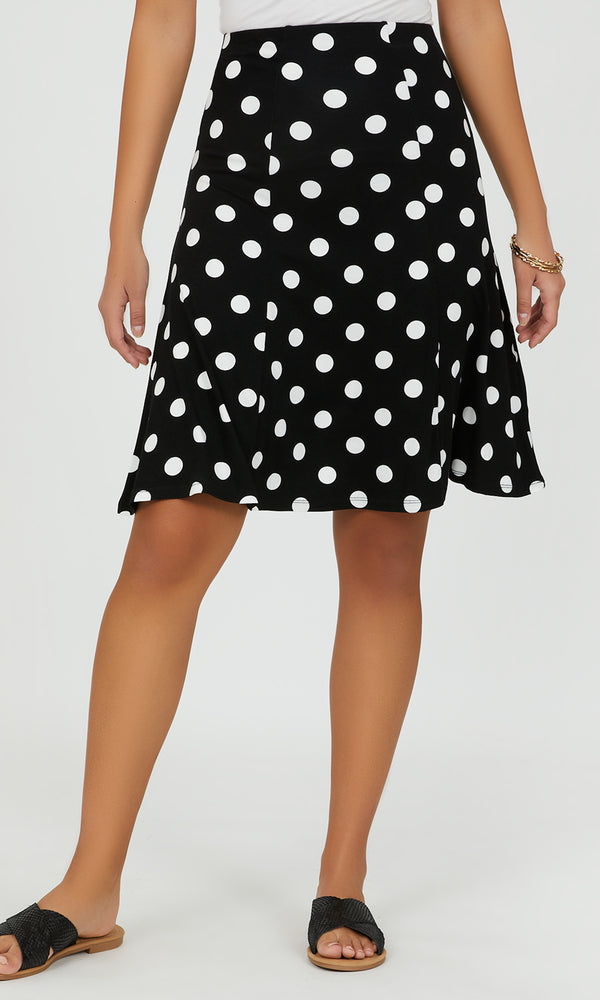 Flared Polka Dot Midi Skirt