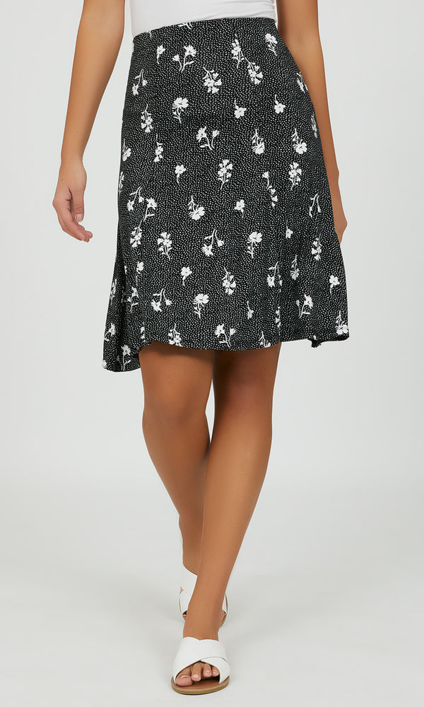Flared Ditsy Floral Midi Skirt