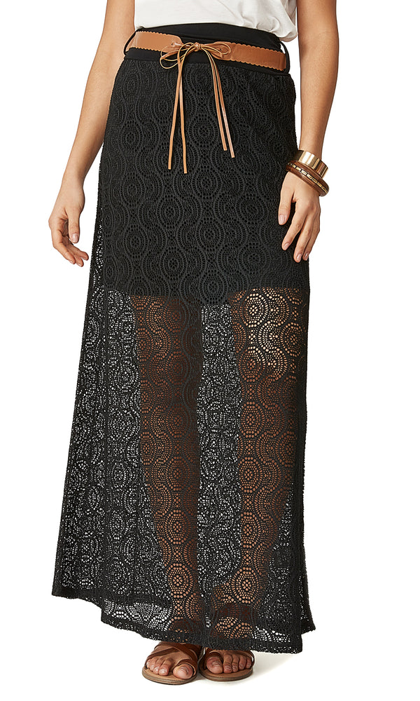 Wide Waistband Belted Maxi Skirt