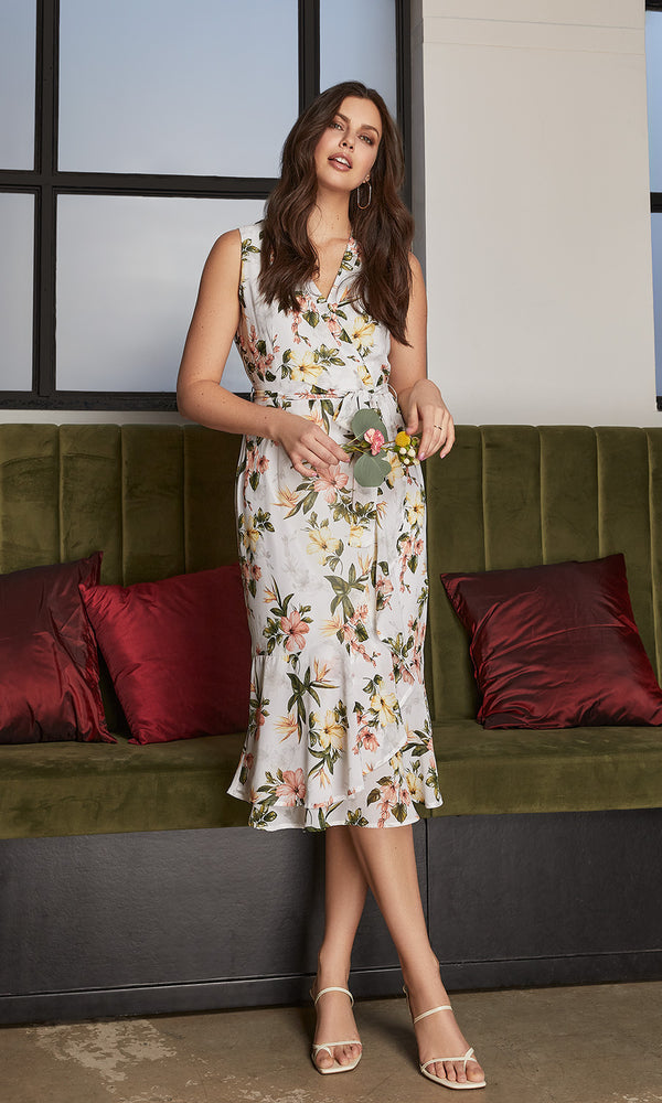 Sleeveless Crossover Wrap Floral Midi Dress