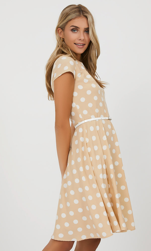 Cap Sleeve Polka Dot Mini Dress