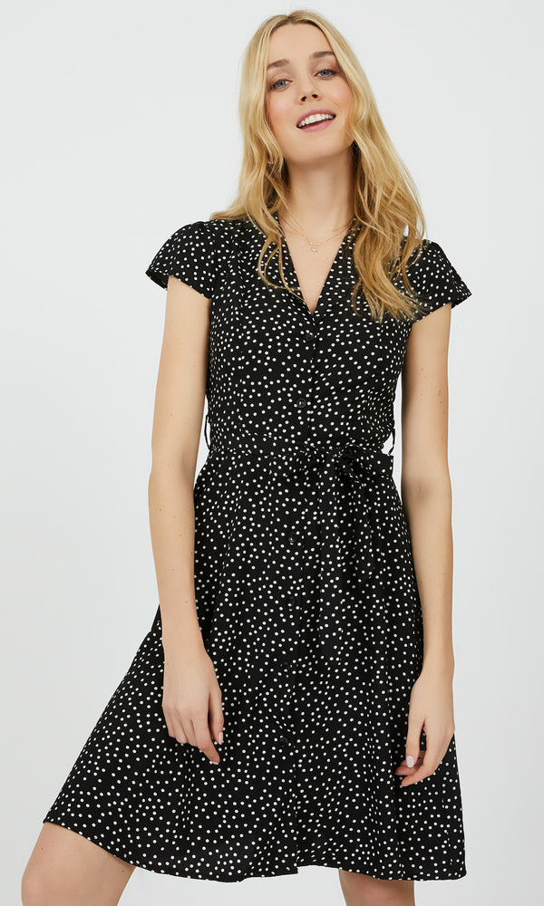 Belted Scatter Dot Print Mini Dress