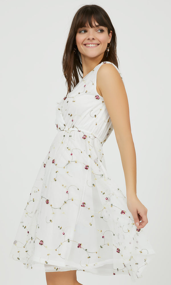Embroidered Floral Fit & Flare Mini Dress