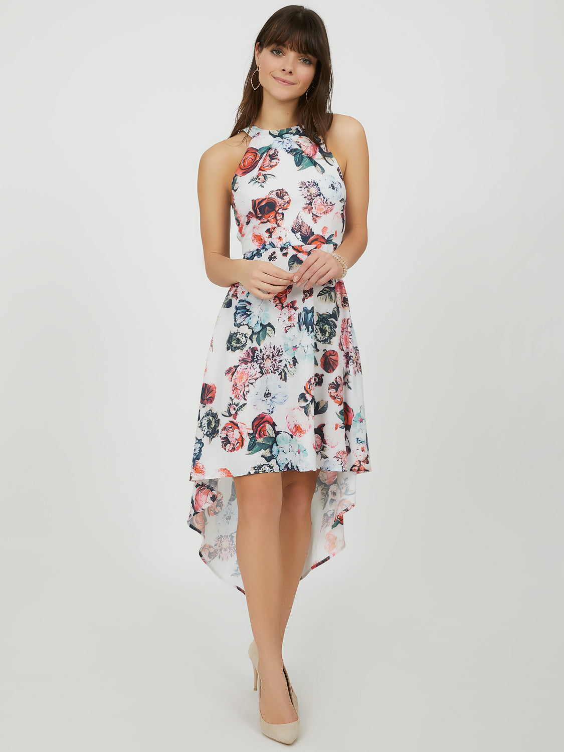 Floral High-Low Halter Neck Dress