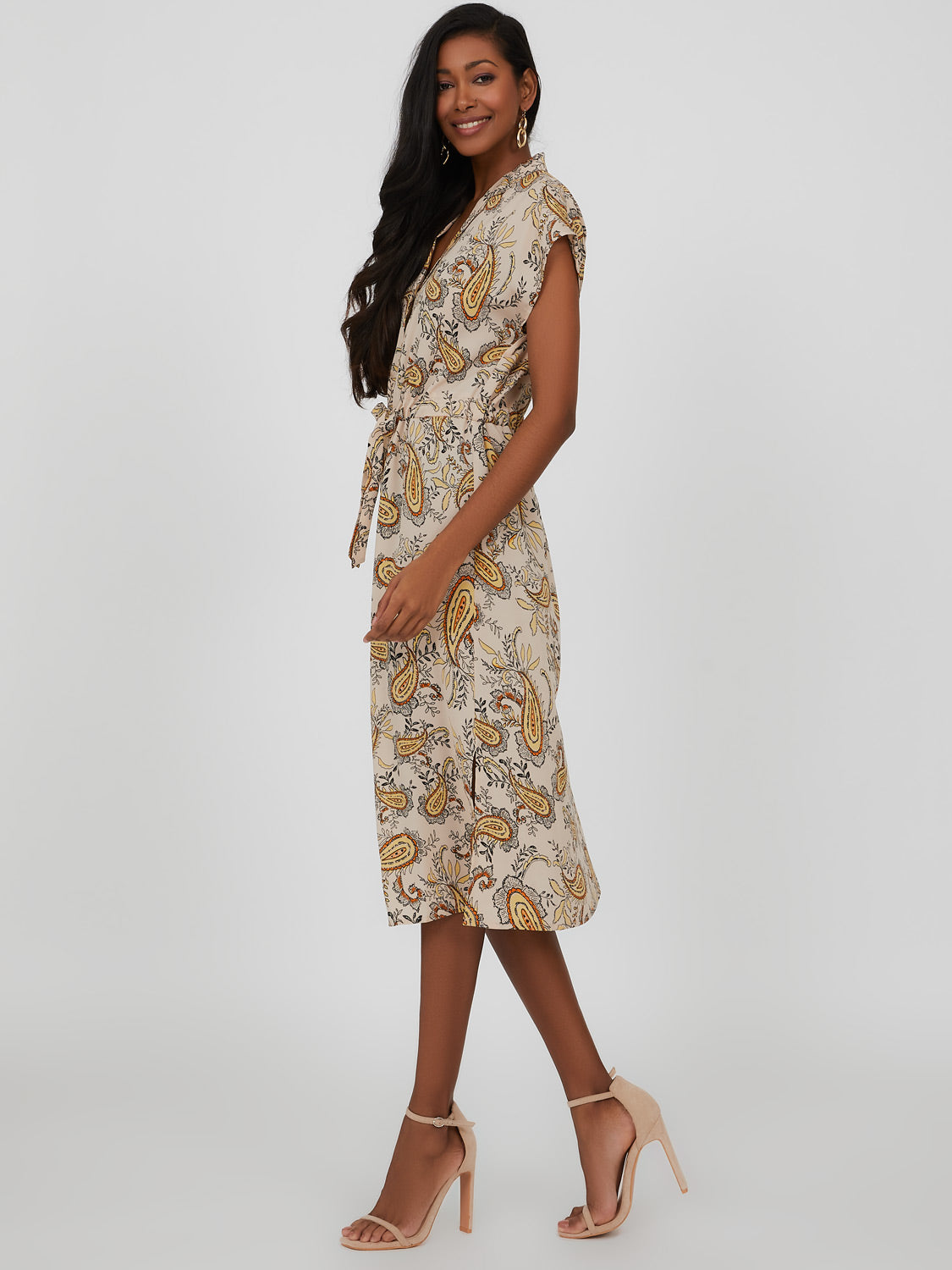 Button-Down Paisley Print Shirt Midi Dress