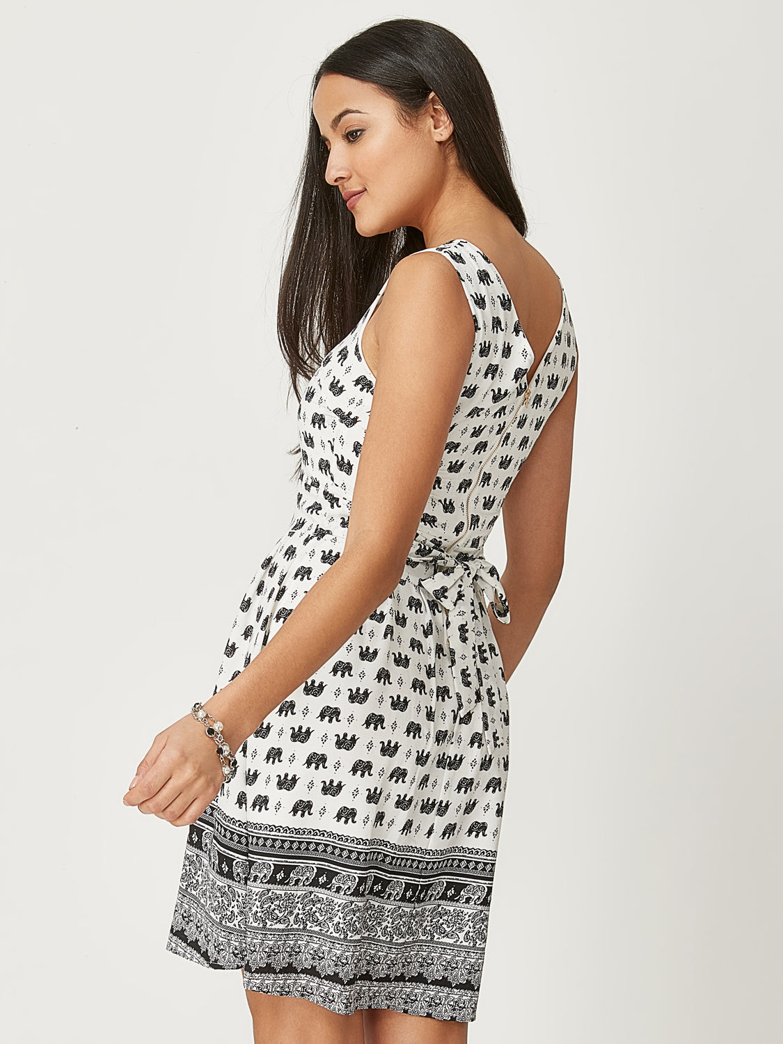 Printed Fit and Flared Dress