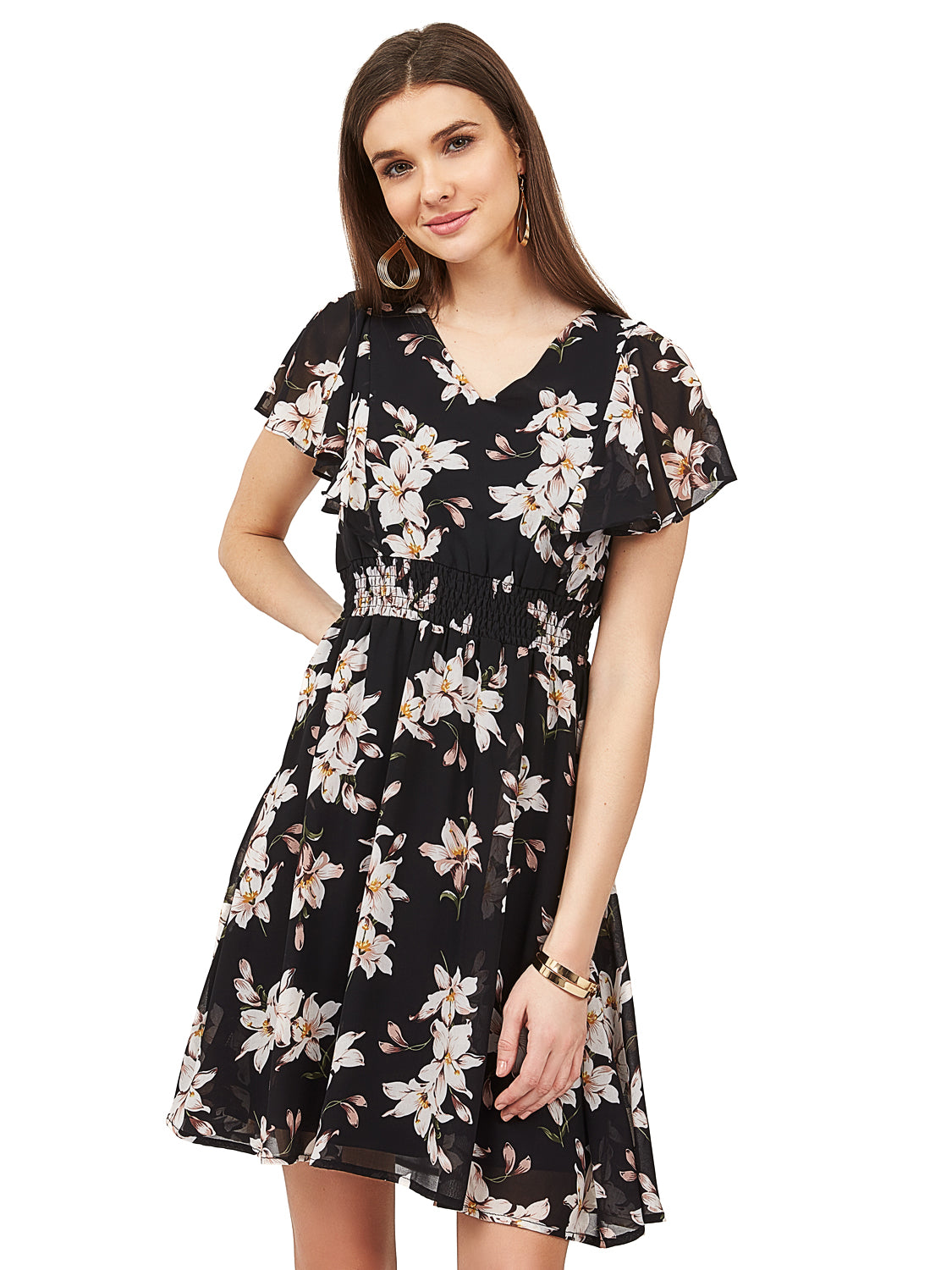Printed Flutter Sleeve Dress