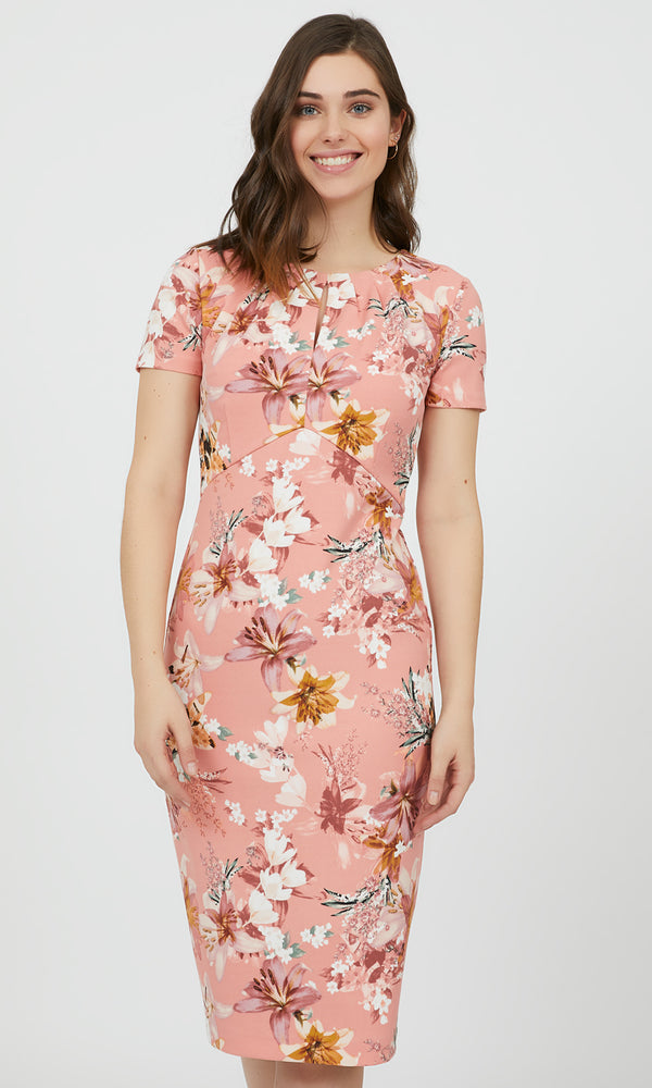 Floral Empire Waist Sheath Midi Dress