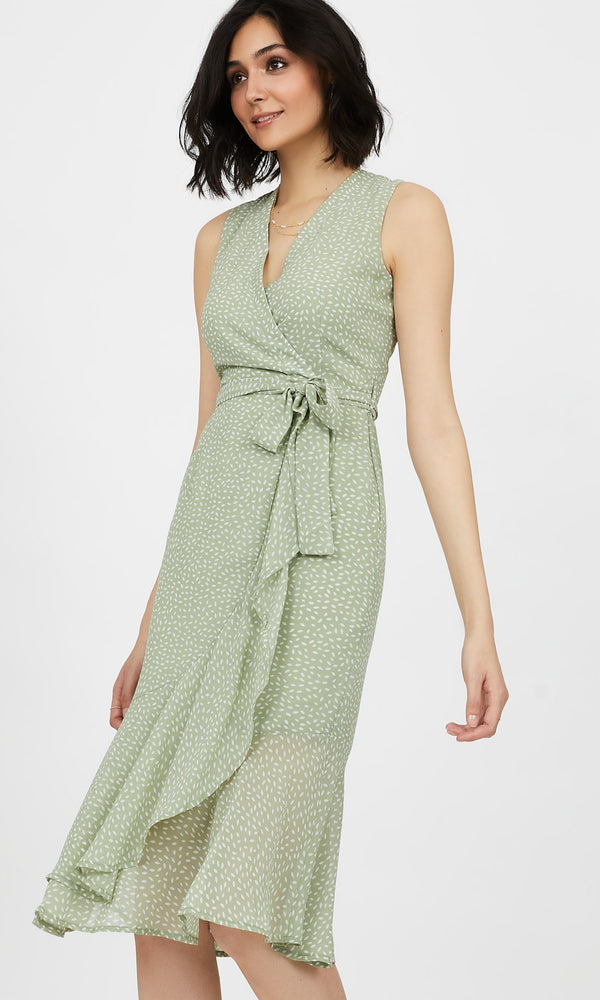 Sleeveless Crossover Wrap Printed Midi Dress