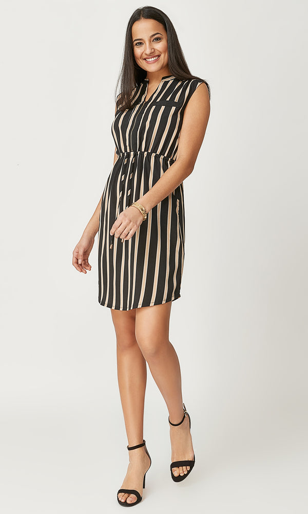 Striped Sleeveless Shirt Dress