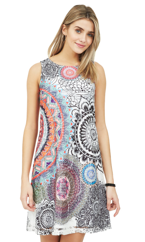 Abstract Print Lace Sheath Dress