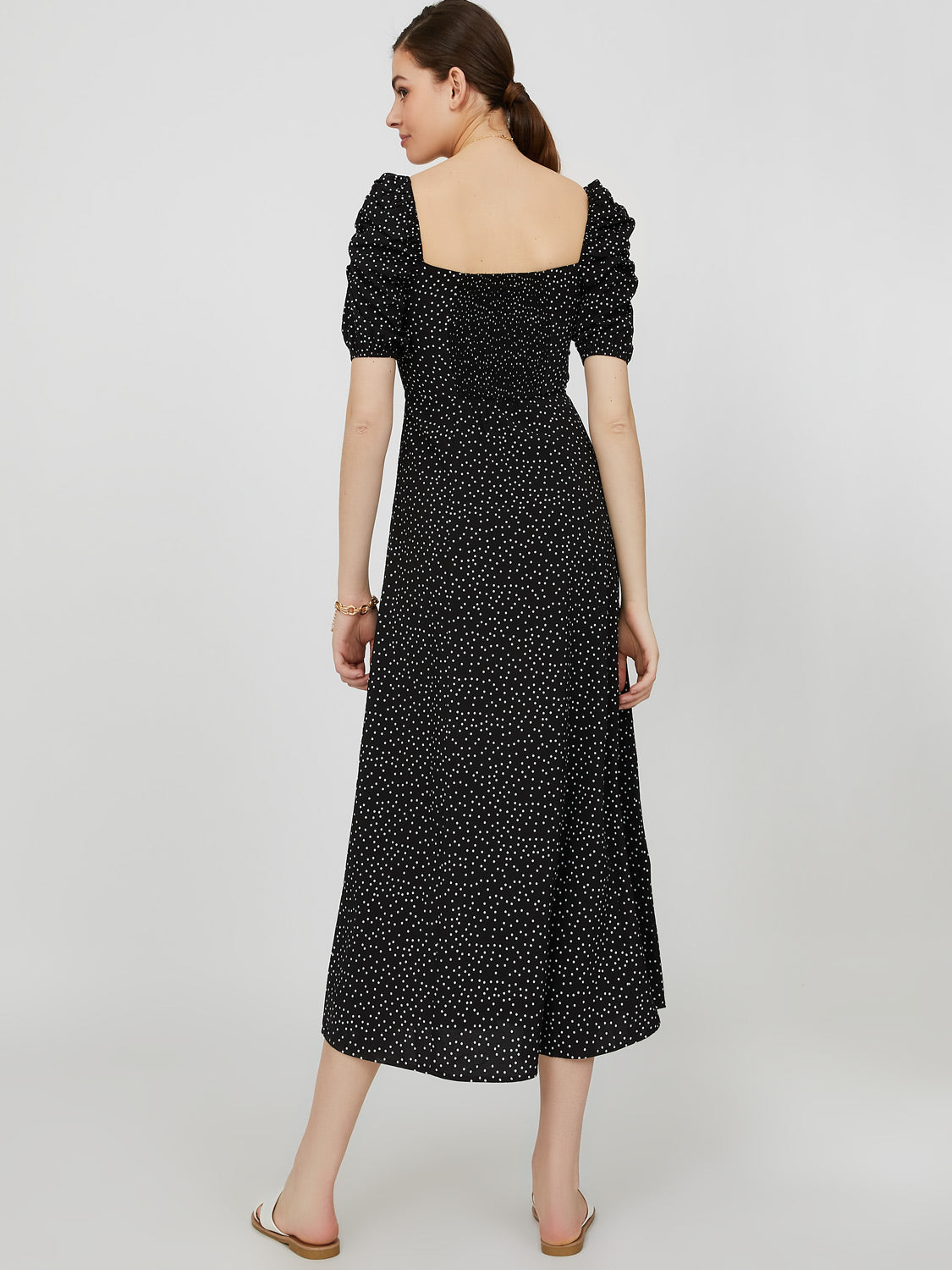 Elbow Puff Sleeve Square Neck Dot Midi Dress