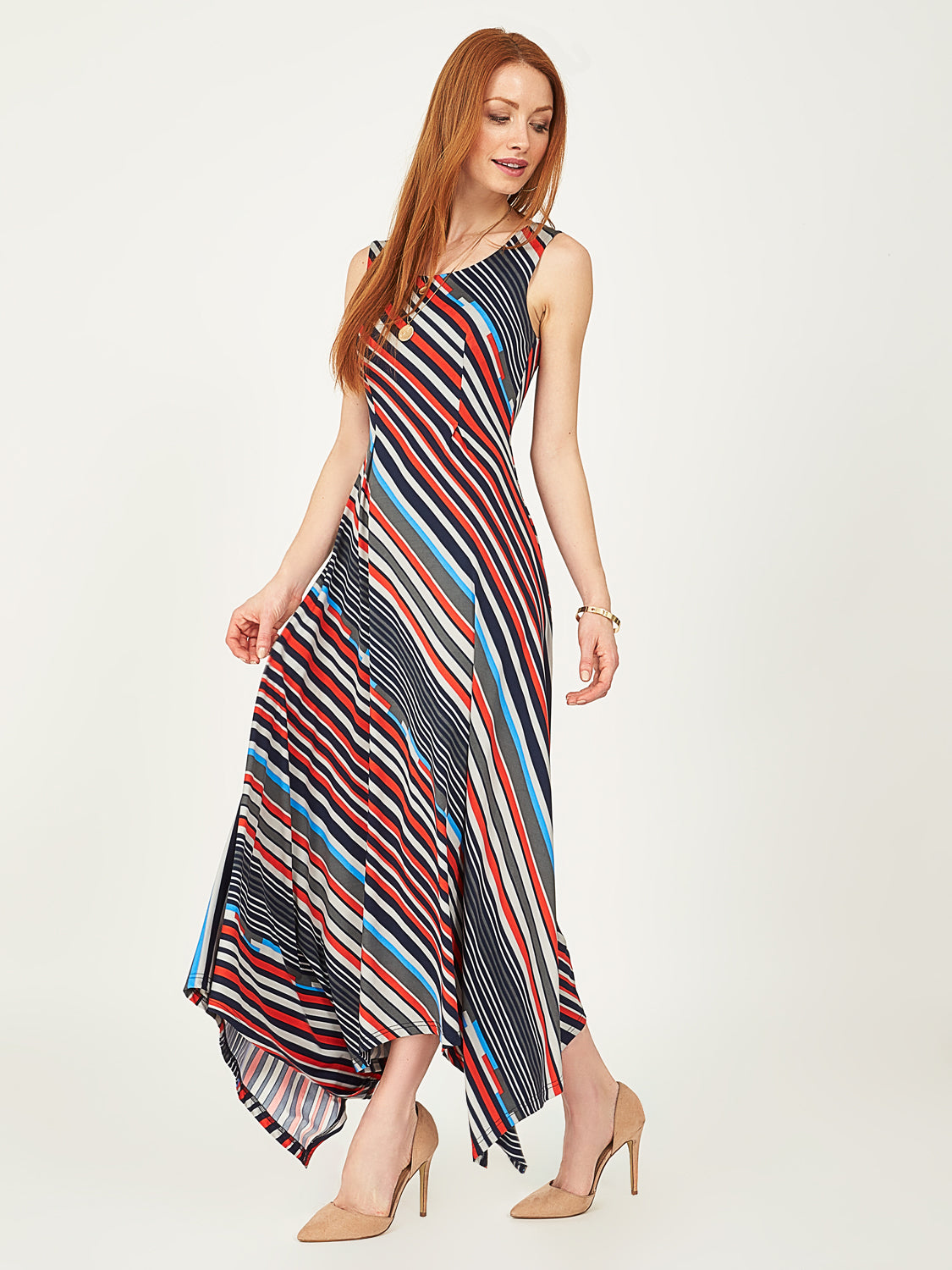 Striped Hanky Hem Dress