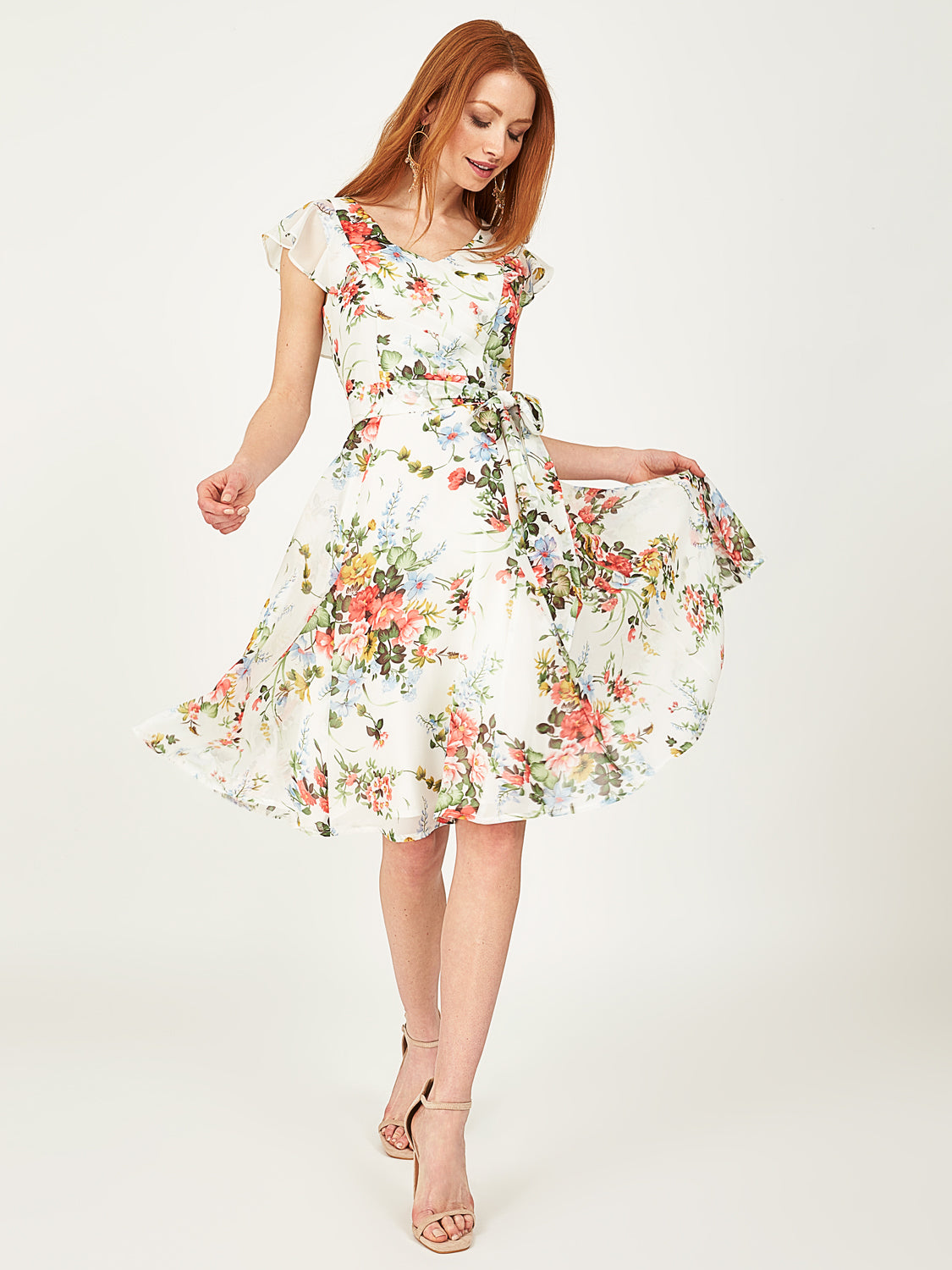 Floral Chiffon Fit & Flare Dress