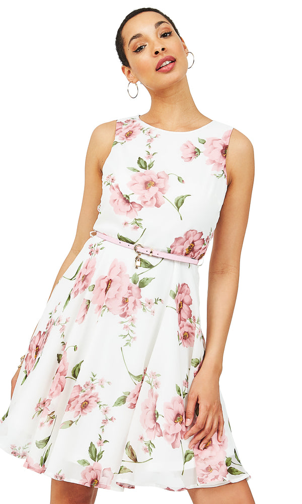 Belted Fit & Flare Floral Dress